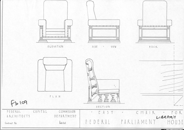 Plan Elevation Of Chair : Library easy chair — museum of australian
