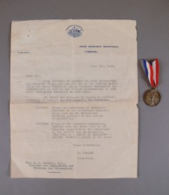 Medal Celebrating Victory Day and Accompanying Letter that belonged to Arthur Calwell