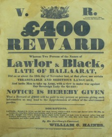 'Reward' poster for Lawlor and Black